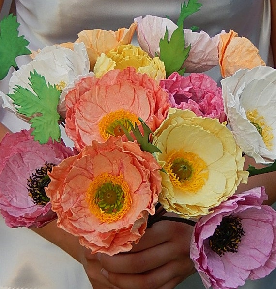 Paper poppy wedding bouquet icelandic poppies wedding etsy image 0 mightylinksfo