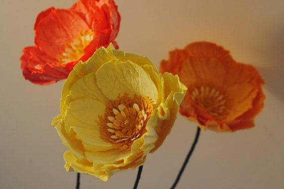 Individual Paper Poppy Stem Orange And Yellow Poppies Etsy