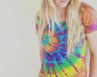 Tie dye Shirt, Women's, hand dyed, festival, hippy, gypsy, rainbow, burning man, Tee, woman's Tee, By Australian Artist Clair Sol