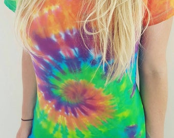 Tie Dye T-Shirt, Women's and Mens by Clair Sol. Plus Size, sizes 6 - 24, festival, hippy, rainbow, Womens Tee, Couples Tee, Mens tee