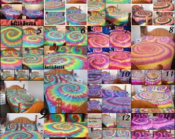 Tie Dye Spiral, Tie Dye Swirl, Tie dye Bedding, Doona Cover Set, Duvet Cover, 500tc Sheet Set, Rainbow, Single, Double, Queen, King, Hippie