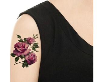 Purple Rose Tattoo Etsy