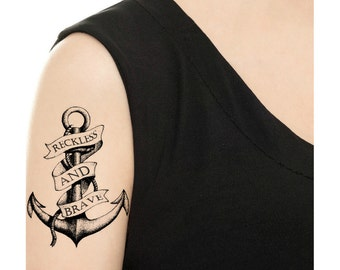 50ab4678960f7 Temporary Tattoo - Vintage Anchor - Various Patterns and Sizes / Tattoo  Flash