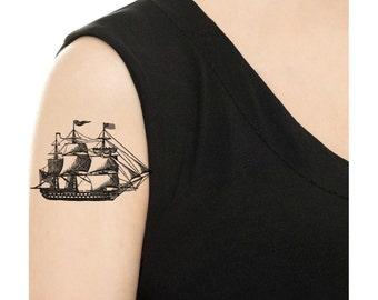 Temporary Tattoo -  Vintage Ship / Tattoo Flash