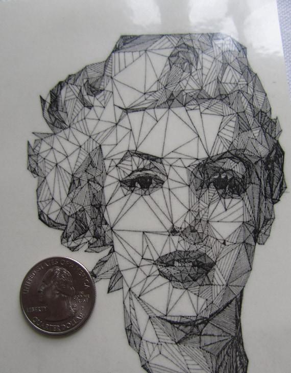 Temporary Tattoo Geometric Drawing Albert Einstein Or Monroe Tattoo Flash
