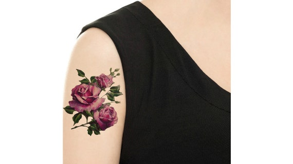 Temporary Tattoo Purple Red Rose Hydrangea Floral Etsy