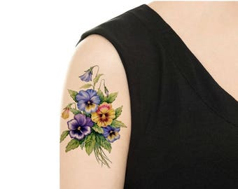Temporary Tattoo -  Vintage FloralTattoo - Various Patterns and Sizes/ Pansy / Red Peony / Lilac / Rose / Tattoo Flash
