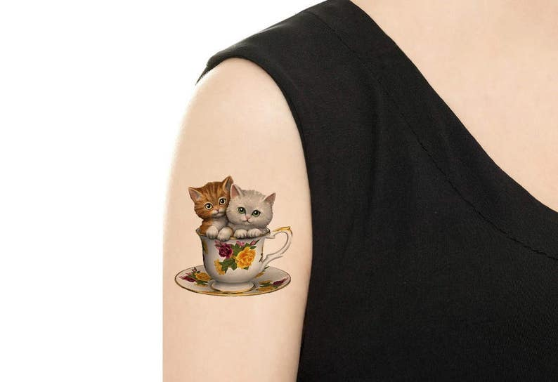 Temporary Tattoo   Teacups Series / Cats in teacup / Biscuits image 0