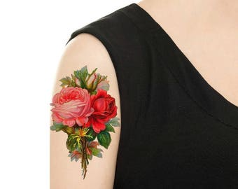 Temporary Tattoo -  Vintage Roses / Flower Tattoo - Various Patterns and Sizes / Bluebonnet /Tattoo Flash