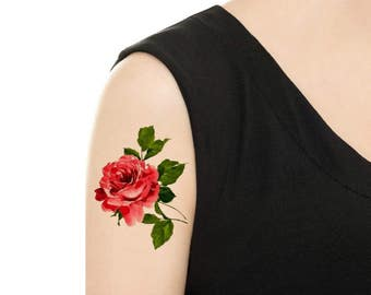 Temporary Tattoo - Rose / Carnation Vintage Flower Tattoo - Various Patterns and Sizes / Tattoo Flash