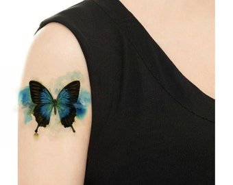 Temporary Tattoo - Watercolor Butterfly / Tattoo Flash