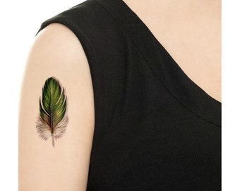 Temporary Tattoo - Set of 2 Green Feathers / Vintage Feather / Tattoo Flash