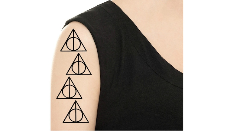 Temporary Tattoo  Set of 4 Harry Potter Deathly Hallows / Six image 0