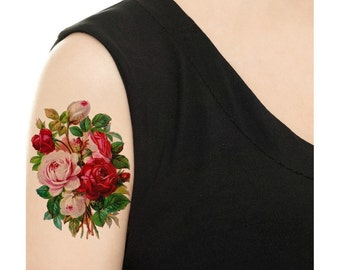 Temporary Tattoo - Vintage Floral - Rose or Daisy - Various Sizes / Tattoo Flash