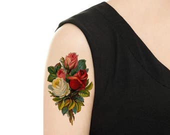 Temporary Tattoo - Purple Rose / Pink Rose / Scabiosa Vintage Flower Tattoo - Various Patterns and Sizes / Tattoo Flash