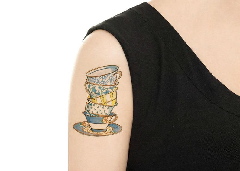 Temporary Tattoo   Stack of 5 Teacups and Saucer / Teacup PICTURE 1