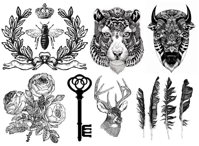 Temporary Tattoo  Set of 7 / Set of 6 Vintage Floral OR Set PIC. 1