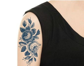 Temporary Tattoo -  Vintage Black Rose Tattoo / Vintage Blue (Delfts Blauw) Dutch Tattoo / Tattoo Flash