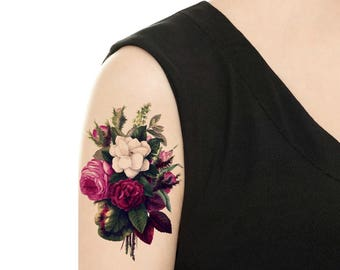 Temporary Tattoo - Purple Flower / Purple Bouque Vintage Flower Tattoo - Various Patterns and Sizes / Tattoo Flash