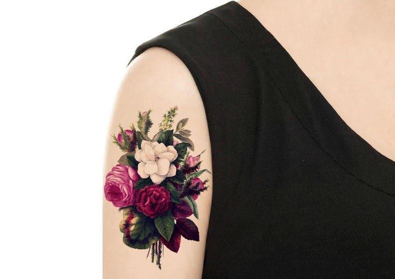Temporary Tattoo  Purple Flower / Purple Bouque Vintage image 0