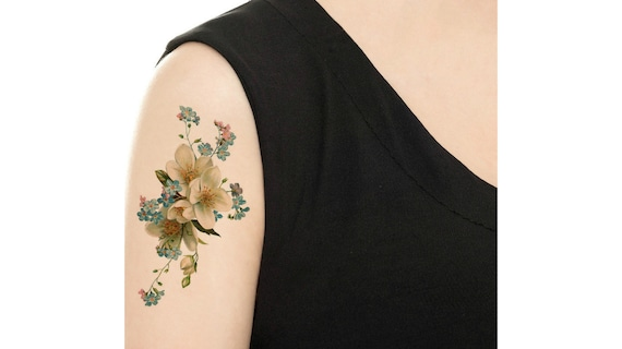 Temporary Tattoo Forget Me Not Floral Tattoo Various Etsy