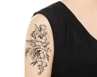 TEMPORARY TATTOO - Vintage Rose / Peony Tattoo - Various Patterns / Tattoo Flash
