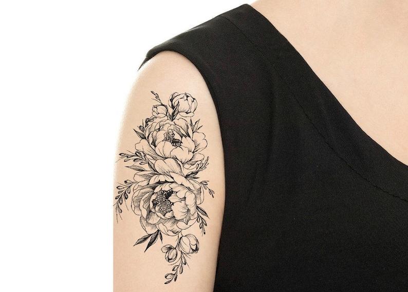 12af6228f TEMPORARY TATTOO Vintage Rose / Peony Tattoo Various | Etsy