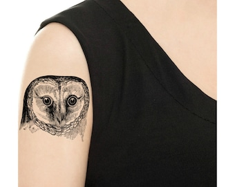 Temporary Tattoo - Vintage Owl  / Tattoo Flash