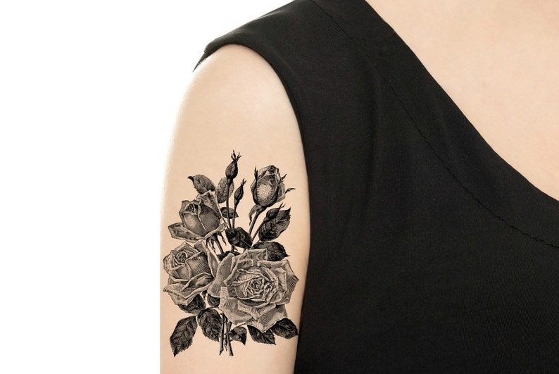 Temporary Tattoo  Vintage Floral Tattoo  Various Sizes and image 0