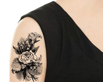 TEMPORARY TATTOO - Vintage Rose / Peony Tattoo - Various Patterns / Tattoo Flash