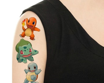 Temporary Tattoo - Pokemon Set or Single Pokemon/ Charmander / Squirtle / Bulbasaur / Butterfree / Vaporeon / Pikachu / Horsea / Marill