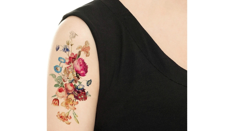 Temporary Tattoo  Vintage Floral  Pick your size / Tattoo image 0