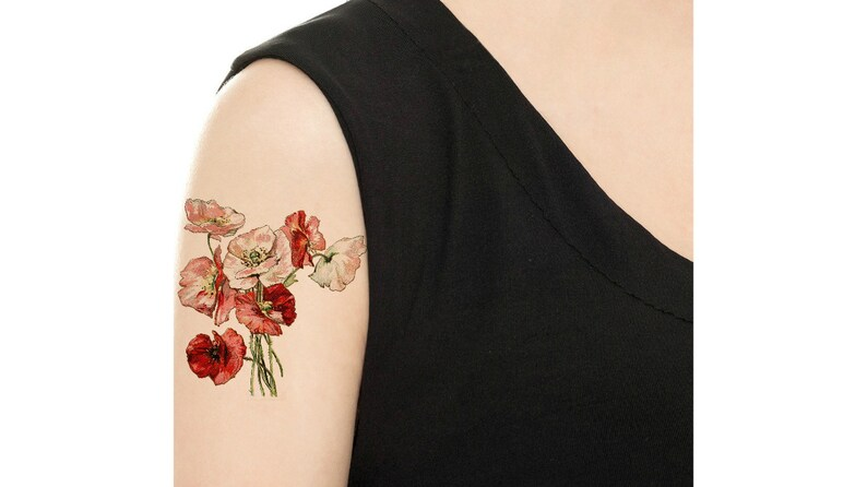 Temporary Tattoo  3 Types of Vintage Florals  Various Sizes image 0