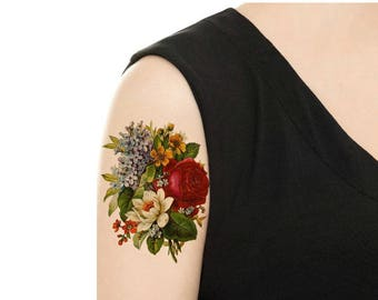 Temporary Tattoo -  Vintage FloralTattoo - Various Patterns and Sizes/ Pansy / Yellow Rose / Begonia / Lilac / Rose / Tattoo Flash