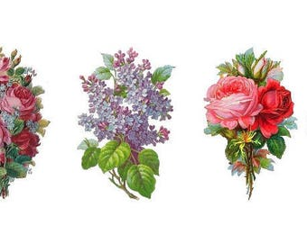 Temporary Tattoo - Set of 3 Vintage Floral - Pick your pattern/ Rose / Lilac / Pansy / Tattoo Flash