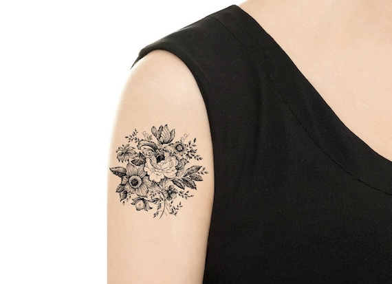 Temporary Tattoo Vintage Black And White Flower Rose Etsy