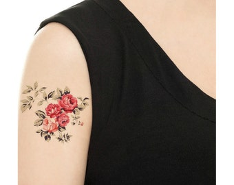 Temporary Tattoo - Vintage Rose / Tattoo Flash