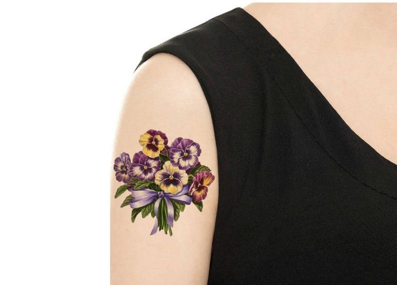 Temporary Tattoo   Vintage FloralTattoo  Various Patterns PANSY (PIC. 1)