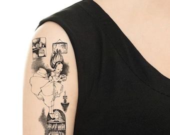 """Temporary Tattoo - 7"""" x 3"""" Large """"Alice in Wonderland"""" tattoo / Tattoo Flash"""