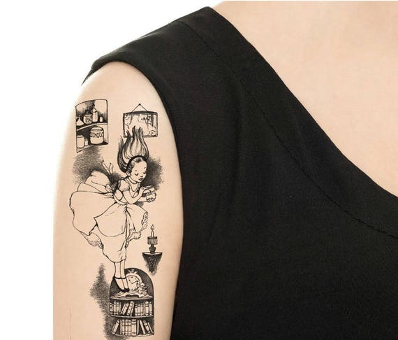Temporary Tattoo 7 X 2 5 Large Alice In Etsy