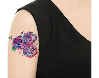 Temporary Tattoo -  Watercolor Roses / Tattoo Flash
