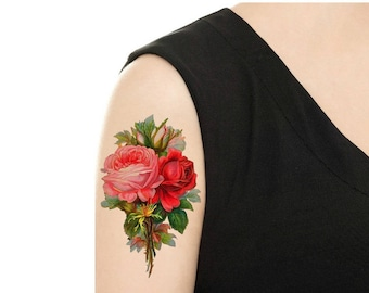 Temporary Tattoo -  Vintage FloralTattoo - Various Patterns and Sizes/ Pansy / Yellow Rose / Begonia / Lilac / Rose