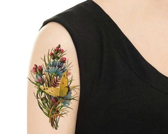 Temporary Tattoo -  Multi Flower Vintage Tattoo / Lily of the Valley / Butterfly / Rose / Sweet Pea / Lilac / Daisy / Poppy / Pansy
