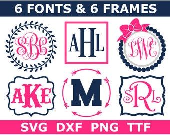 Monogram Bundle SVG + TTF, 6 Monogram Font Alphabets + 6 Frames, Digital Download/Cricut, Silhouette, Glowforge, svg/png/dxf files + ttf