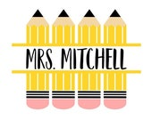 Pencil Name Frame SVG, Teacher SVG, Digital Download Cricut, Silhouette, Glowforge (svg png dxf file formats) Does NOT come with font