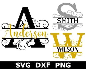 Split Monogram SVG/DXF/PNG, Split Monogram Frame Alphabet, Digital Download for Cricut, Glowforge, Silhouette, 26 svg/dxf/png files
