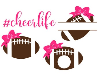 Cheer SVG, Football SVG, Bow SVG, #cheerlife, Digital Download/Cricut, Silhouette, Glowforge (includes 4 svg/png/dxf file formats)