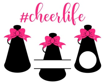 Cheer SVG, Megaphone SVG, Cheer Life SVG, Digital Download for Cricut, Silhouette, Glowforge (includes 7 svg/png/dxf file formats)