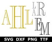 Monogram SVG TTF Alphabet, Engraved Monogram Alphabet, Digital Download for Cricut Silhouette, 62 svg png dxf files installable TTF file