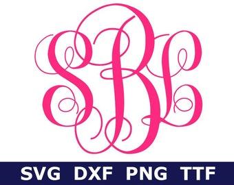Monogram SVG + TTF Alphabet, Fancy Monogram Alphabet, Digital Download for Cricut/Silhouette, 52 svg/png/dxf files + installable TTF file